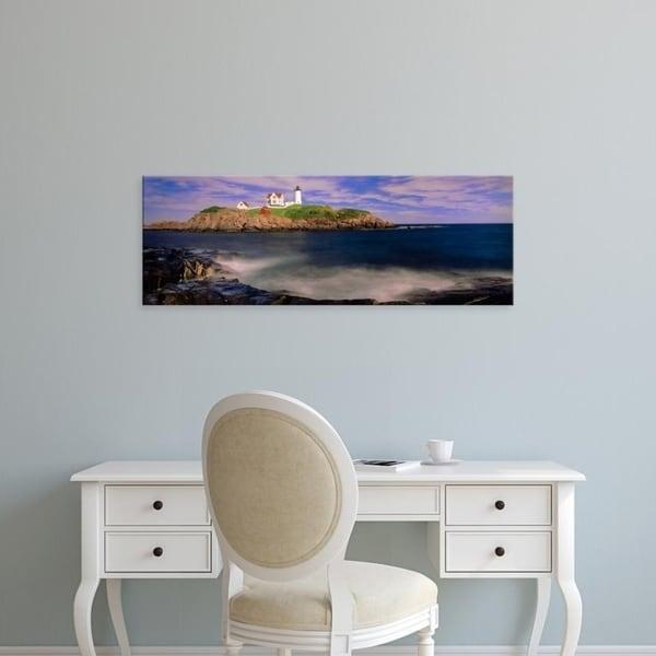 Easy Art Prints Panoramic Images's 'Lighthouse at a coast, Nubble Lighthouse, Cape Neddick, York, York County, Maine' Canvas Art