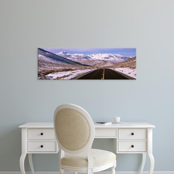 Easy Art Prints Panoramic Images's 'Snow on the side of a road, Sierra Mountains, California, USA' Premium Canvas Art