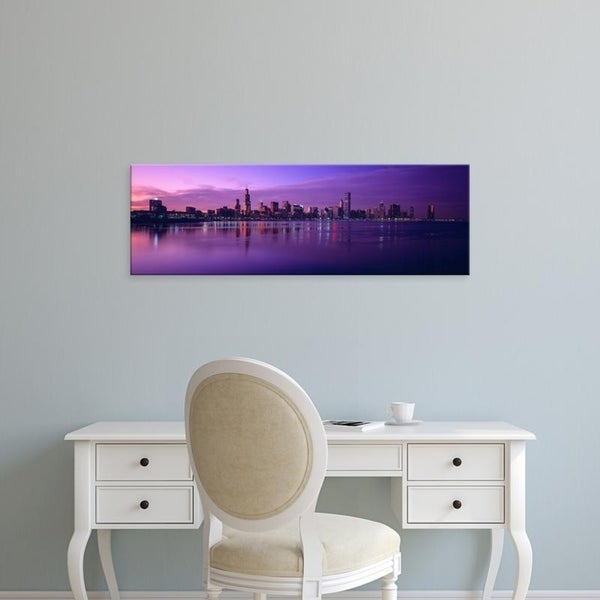 Easy Art Prints Panoramic Images's 'Waterfront, Sears Tower, Hancock Building, Lake Michigan, Chicago, Illinois' Canvas Art
