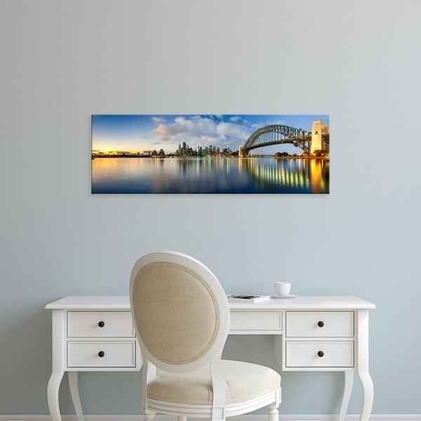 Easy Art Prints Panoramic Images's 'Sydney Harbour Bridge and skylines at dusk, Sydney, New South Wales, Australia' Canvas Art