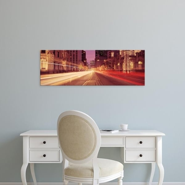 Easy Art Prints Panoramic Images's 'Traffic on the road at dusk, Michigan Avenue, Chicago, Cook County, Illinois' Canvas Art