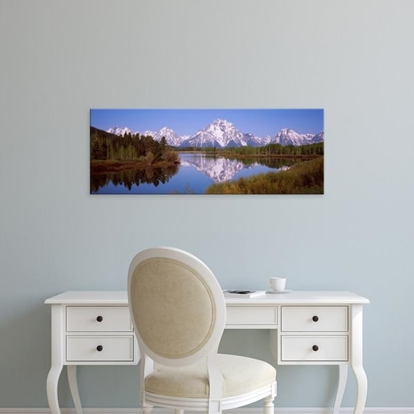 Easy Art Prints Panoramic Images's 'Mountains and trees, Oxbow Bend, Snake River, Grand Teton National Park, Wyoming' Canvas Art