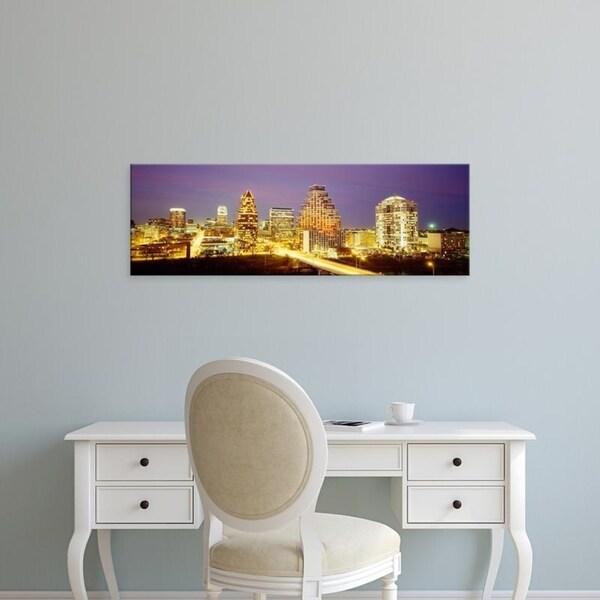 Easy Art Prints Panoramic Images's 'Buildings lit up at dusk, Austin, Texas, USA' Premium Canvas Art