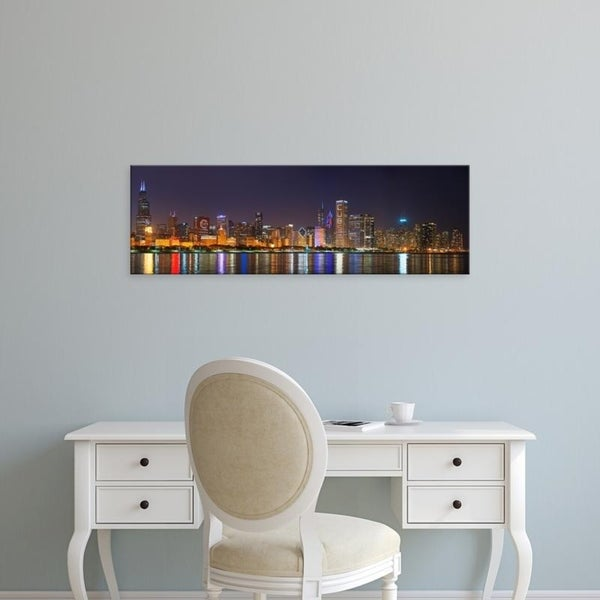 Easy Art Prints Panoramic Images's 'Chicago skyline, Cubs World Series lights, Lake Michigan, Chicago, Illinois' Canvas Art