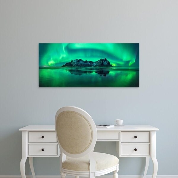 Easy Art Prints Panoramic Images's 'Aurora Borealis in the sea, Vestrahorn mountains, Stokksnes Beach, Iceland' Canvas Art