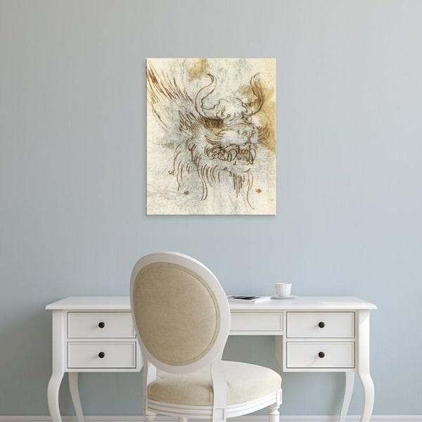 Easy Art Prints Leonardo da Vinci's 'Detail from a study of a dragon costume.' Premium Canvas Art