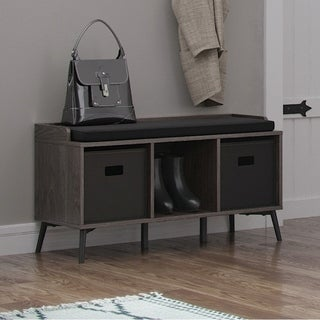 RiverRidge Storage Bench with Cubbies and Optional 2 pc Black Bins