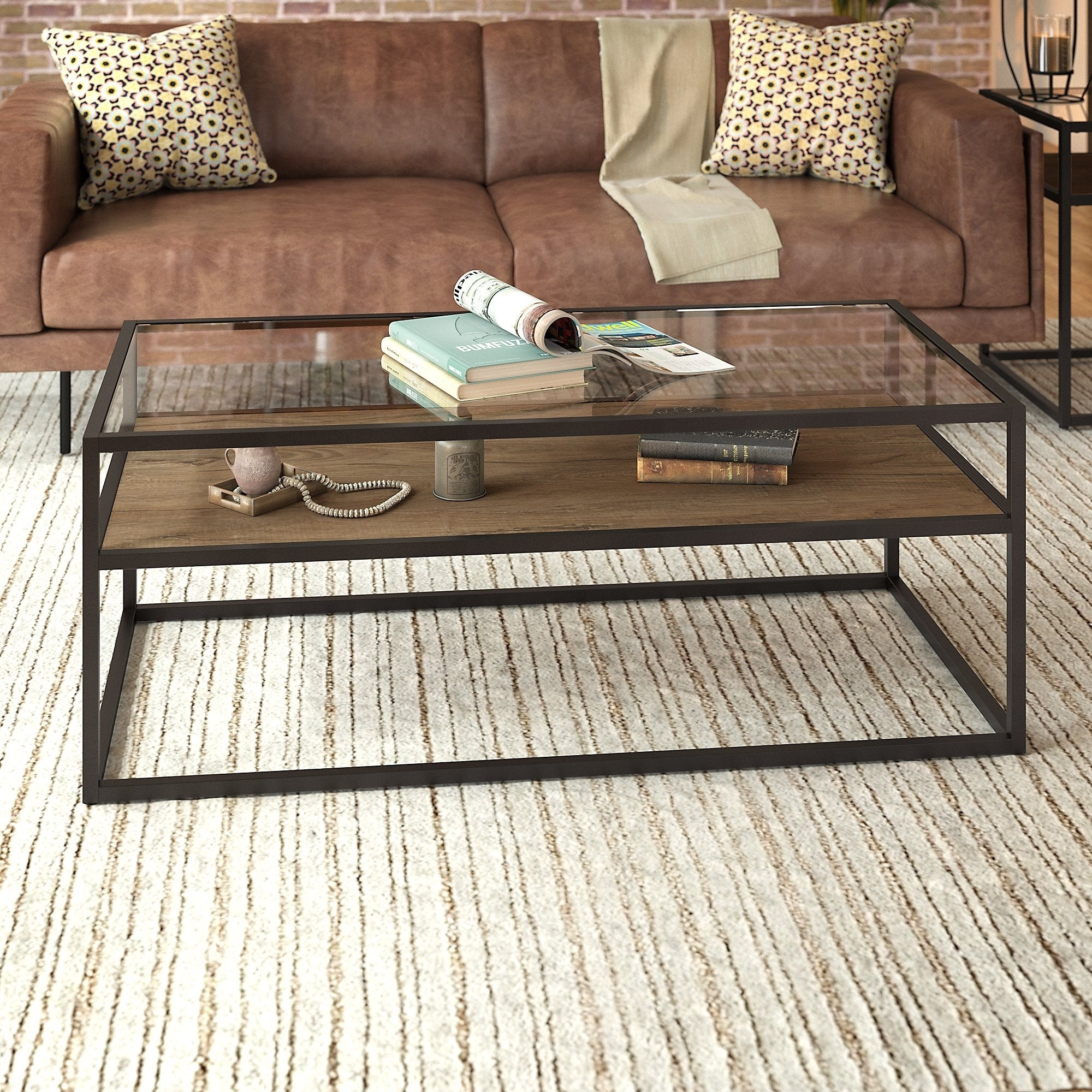 Carbon Loft Narthech Gl Top Coffee Table In Rustic Brown 47 99 L X 23 98 W 18 15 H