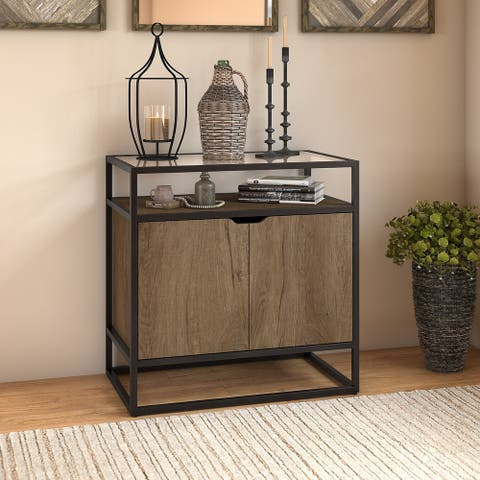 """Carbon Loft Narthech Small Storage Cabinet with Doors in Rustic Brown - 30.00""""L x 17.99""""W x 30.16""""H"""