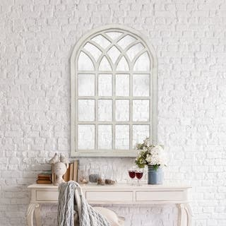 Gallery Solutions Farmhouse Cathedral Windowpane Wall Mirror