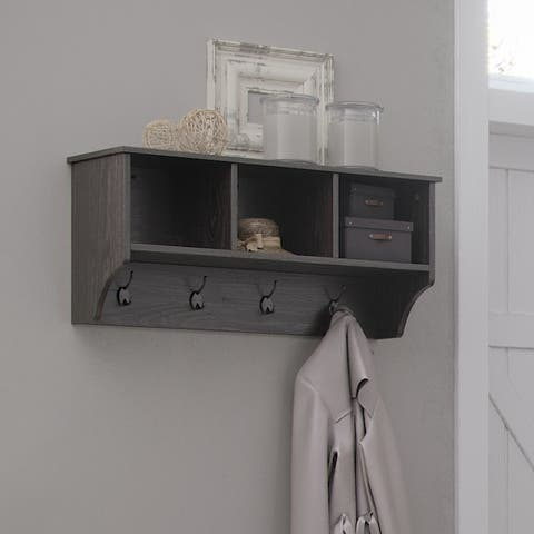 RiverRidge Wall Shelf with Cubbies and Hooks