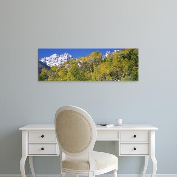 Easy Art Prints Panoramic Images's 'Forest with snowcapped mountains, Maroon Bells, Aspen, Pitkin County, Colorado' Canvas Art