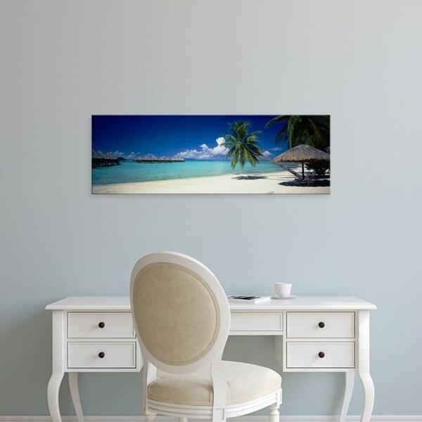 Easy Art Prints Panoramic Images's 'Palm Trees Moana Beach Bora Bora Island' Premium Canvas Art