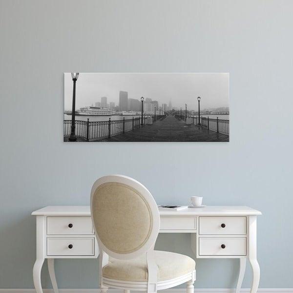 Easy Art Prints Panoramic Images's 'Street lamps on a bridge, San Francisco, California, USA' Premium Canvas Art