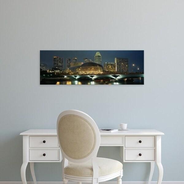 Easy Art Prints Panoramic Images's 'Buildings lit up at night, Esplanade Bridge, Esplanade Drive, Singapore' Premium Canvas Art