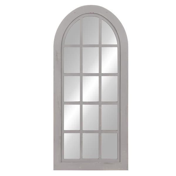 Shop Patton Wall Decor Distressed Farmhouse Arch Windowpane Wall Mirror 27 75x60 Overstock 24213050