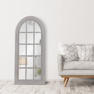 Patton Wall Decor Distressed Farmhouse Arch Windowpane Wall Mirror - 27.75x60