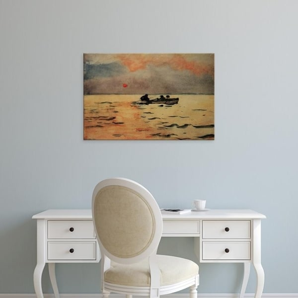 ROWING HOME CALM OCEAN SEAS SUNSET WINSLOW HOMER PAINTING ART REAL CANVAS PRINT