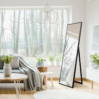 "Gallery Solutions 16x57 Framed Floor Free Standing Mirror with Easel - 16"" x 57"""