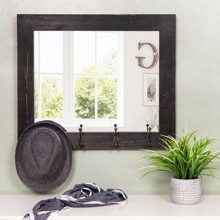 Gallery Solutions Rustic 26-inch x 22-inch Entryway Wall-mounted Mirror with Hooks