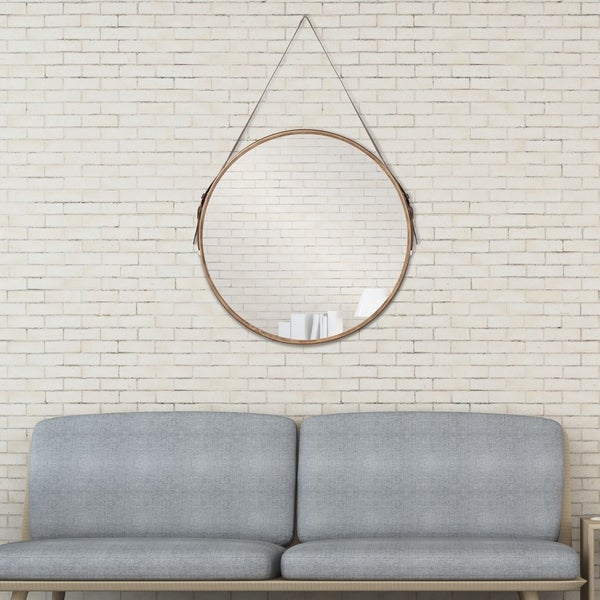 Shop Leather Belted Farmhouse Round Hanging Wall Accent