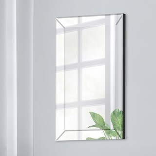Gallery Solutions Mirror Framed Beveled Wall Accent Mirror - Silver