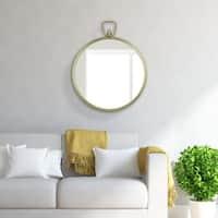 Patton Wall Decor Gold Metal-framed Round Wall Mirror