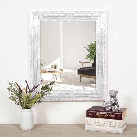 Gallery Solutions Textured White and Silver Framed Accent Wall Mirror