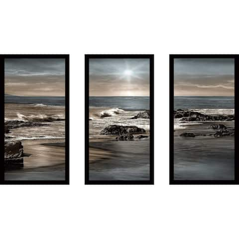 """Blue Sea Sunset II"" by Mike Calascibetta Print on Acrylic Set of 3 - Blue"