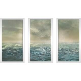 """Foggy Morning"" by Mike Calascibetta Print on Acrylic Set of 3 - Blue"