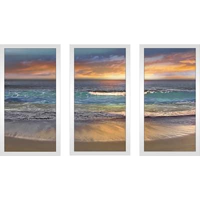 """""""Malibu Alone"""" by Mike Calascibetta Print on Acrylic Set of 3 - Blue"""