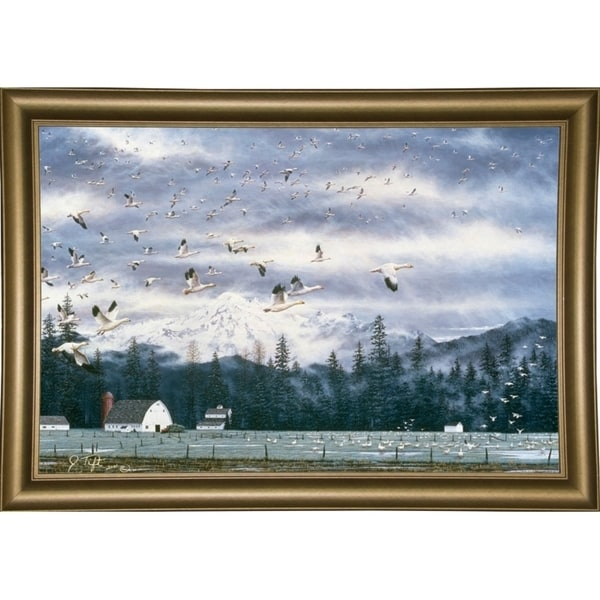 """Geese Flying Over Farmland-JEFTIF90353 Print 28.75""""x43"""" by Jeff Tift"""