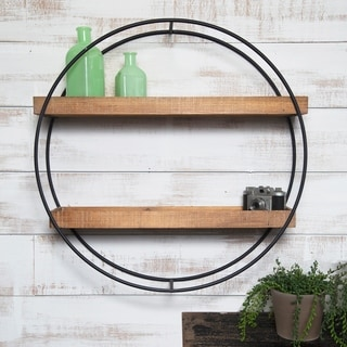 Gallery Solutions Grey Metal/Wood Industrial Round Wall Shelf