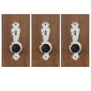 Gallery Solutions Rustic 3 Piece Door Knob Wall Hook Hanger Set