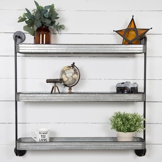 Rustic Three-tier Galvanized Metal Storage Wall Shelf