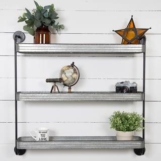 Rustic Three-tier Galvanized Metal Storage Wall Shelf