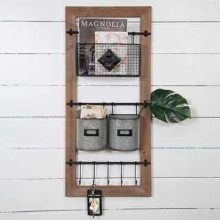Gallery Solutions Metal/Wood Basket and Hook Wall Organizer