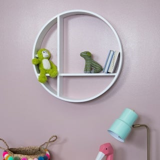 Gallery Solutions Round Wood Wall Shelf