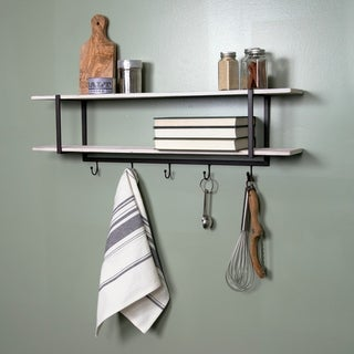 Gallery Solutions Two Tier Metal and Wood Wall Shelf With Hooks