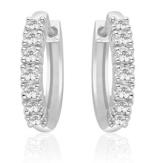 10K White Gold 1/4ct TDW Diamond Hoop Earring (J-K, SI)