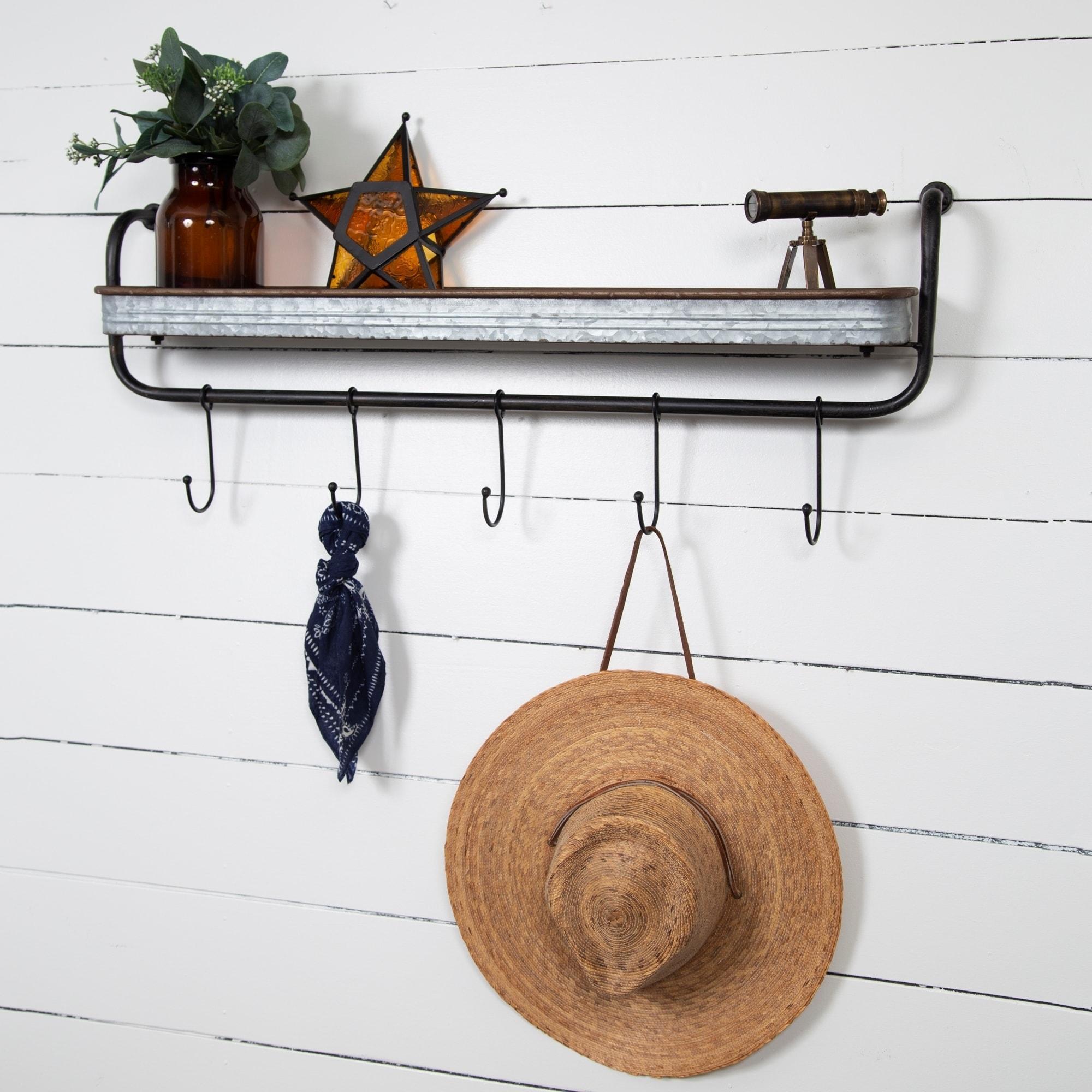Rustic Galvanized Metal Wall Shelf Storage With Hooks