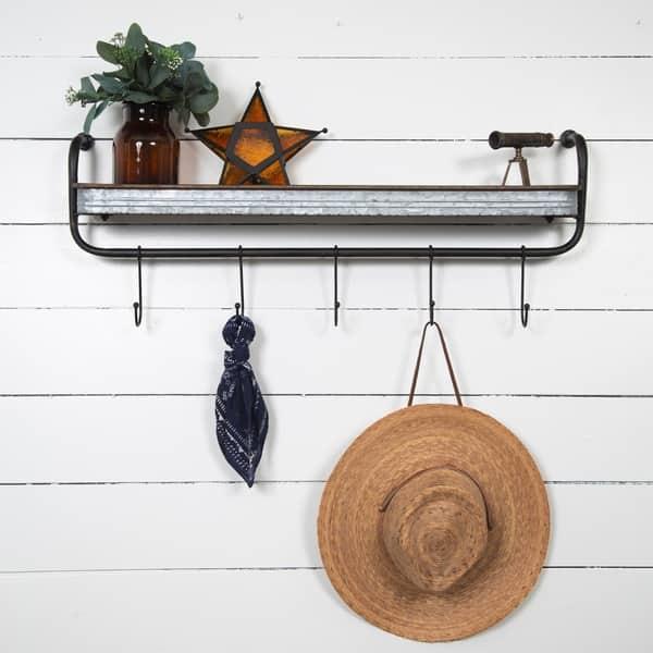 Fine Shop Rustic Galvanized Metal Wall Shelf Storage With Hooks Creativecarmelina Interior Chair Design Creativecarmelinacom