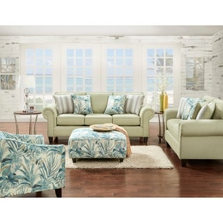 Vibrant Pear Green Coastal Sofa with 4 Pillows