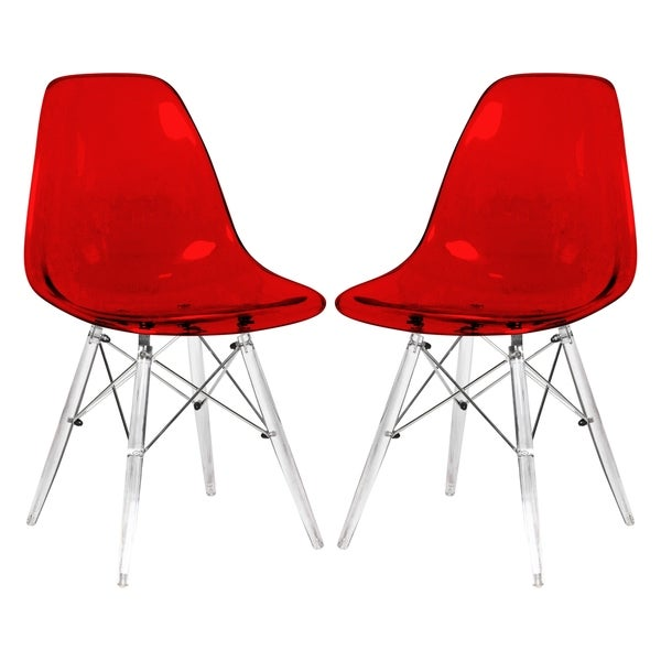 Leisuremod Dover Red Dining Chair With Acrylic Eiffel Base Set Of 2