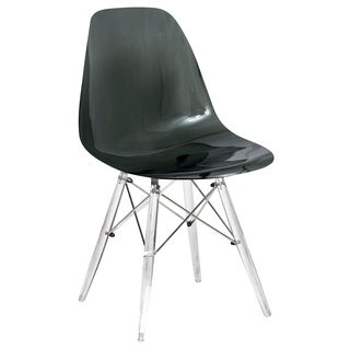 LeisureMod Dover Black Dining Chair With Acrylic Eiffel Base