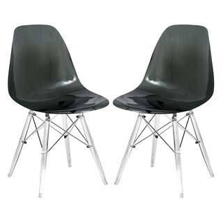 LeisureMod Dover Black Dining Chair With Acrylic Eiffel Base Set of 2