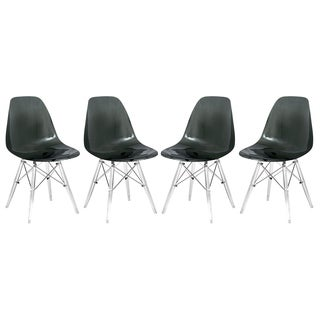 LeisureMod Dover Black Dining Chair With Acrylic Eiffel Base Set of 4