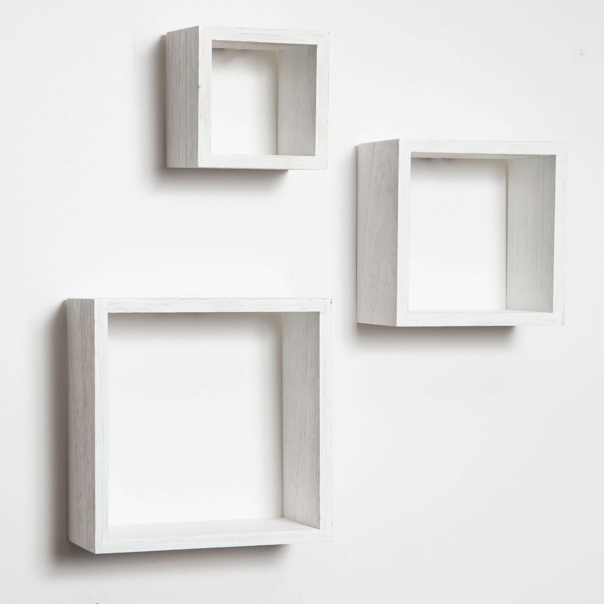 Gallery Solutions Distressed 3 Piece Floating Wall Cube Shelves