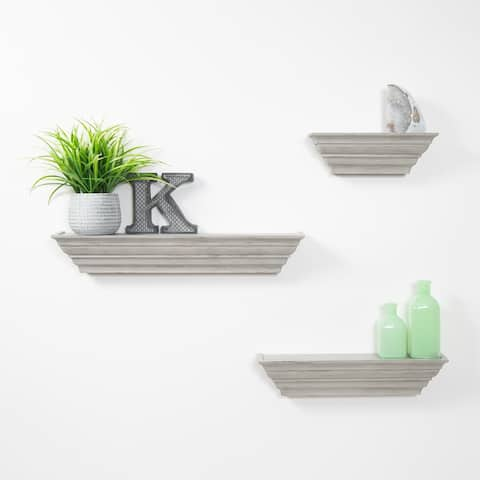 Traditional Distressed 3 Piece Floating Ledge Shelf Set