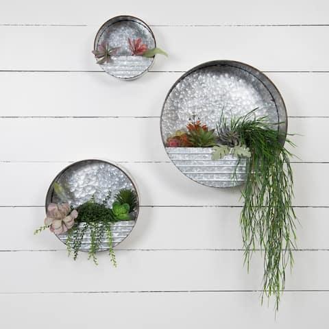 Galvanized Metal Round Hanging Wall Pocket Bins, Set of 3